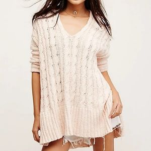 Free People easy cable v neck sweater